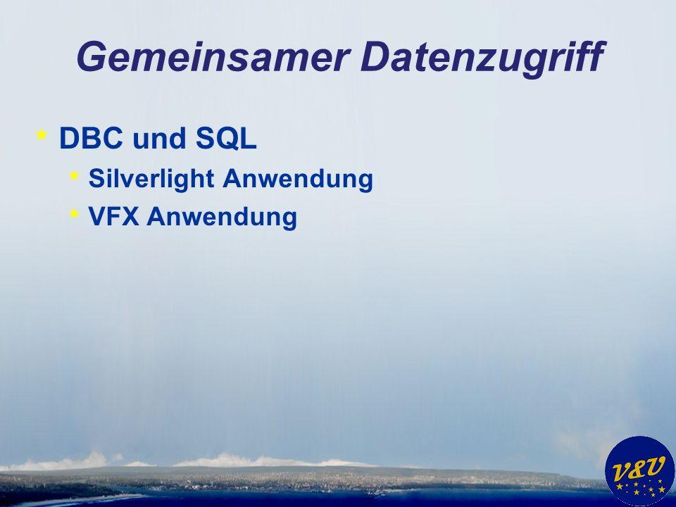 Gemeinsamer Datenzugriff * DBC und SQL * Silverlight Anwendung * VFX Anwendung