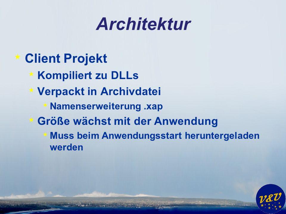 Architektur * Client Projekt * Kompiliert zu DLLs * Verpackt in Archivdatei * Namenserweiterung.xap * Größe wächst mit der Anwendung * Muss beim Anwendungsstart heruntergeladen werden