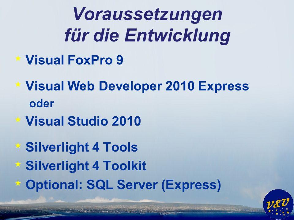 Voraussetzungen für die Entwicklung * Visual FoxPro 9 * Visual Web Developer 2010 Express oder * Visual Studio 2010 * Silverlight 4 Tools * Silverligh