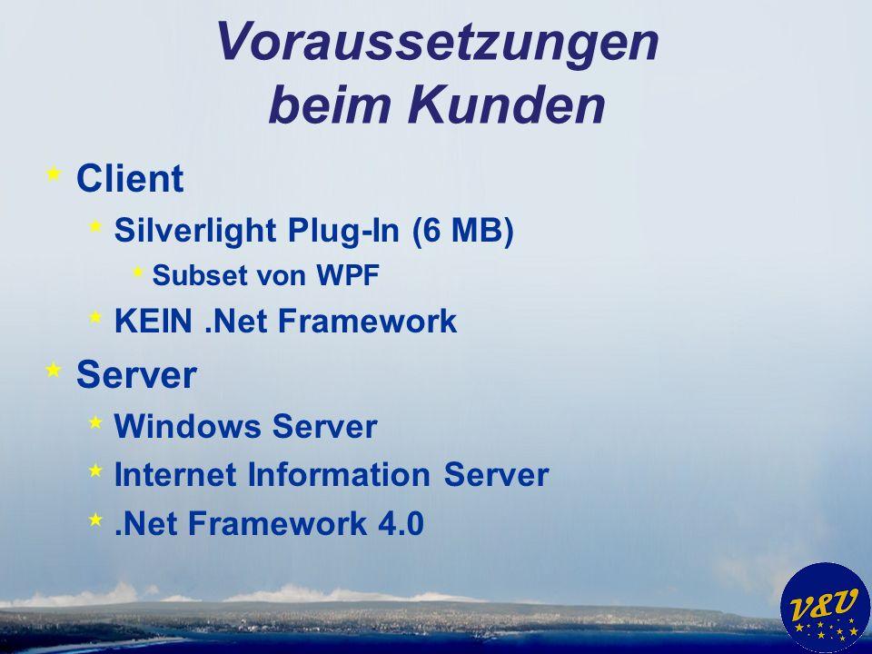 Voraussetzungen beim Kunden * Client * Silverlight Plug-In (6 MB) * Subset von WPF * KEIN.Net Framework * Server * Windows Server * Internet Information Server *.Net Framework 4.0