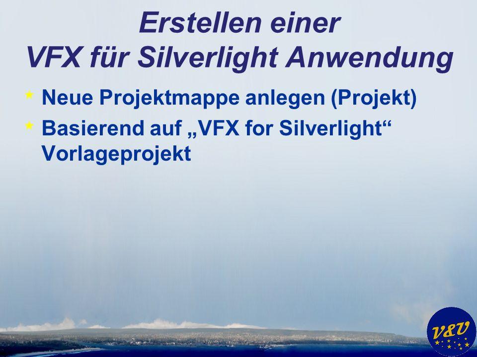 Erstellen einer VFX für Silverlight Anwendung * Neue Projektmappe anlegen (Projekt) * Basierend auf VFX for Silverlight Vorlageprojekt