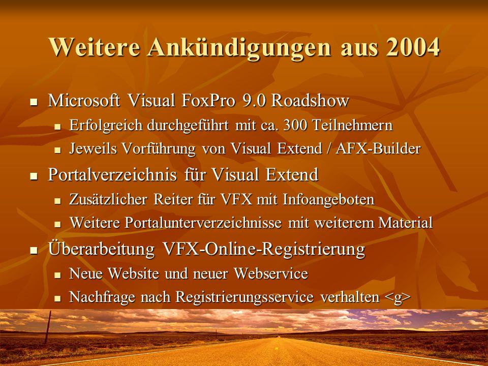 Weitere Ankündigungen aus 2004 Microsoft Visual FoxPro 9.0 Roadshow Microsoft Visual FoxPro 9.0 Roadshow Erfolgreich durchgeführt mit ca. 300 Teilnehm