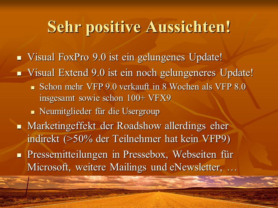 Sehr positive Aussichten! Visual FoxPro 9.0 ist ein gelungenes Update! Visual FoxPro 9.0 ist ein gelungenes Update! Visual Extend 9.0 ist ein noch gel