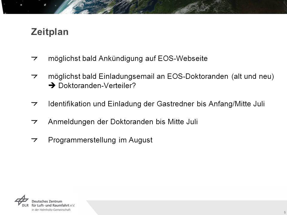 5 Zeitplan möglichst bald Ankündigung auf EOS-Webseite möglichst bald Einladungsemail an EOS-Doktoranden (alt und neu) Doktoranden-Verteiler.