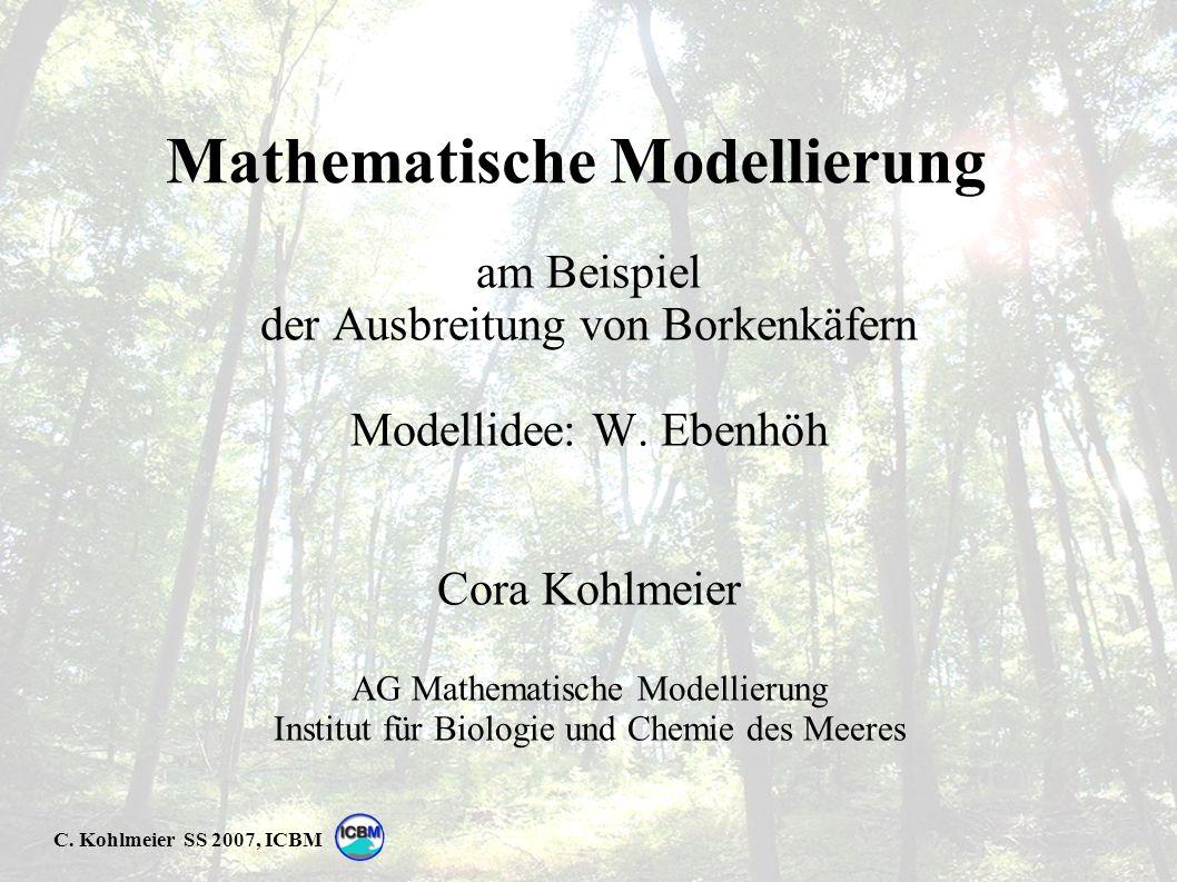 C. Kohlmeier SS 2007, ICBM Mathematische Modellierung am Beispiel der Ausbreitung von Borkenkäfern Modellidee: W. Ebenhöh Cora Kohlmeier AG Mathematis