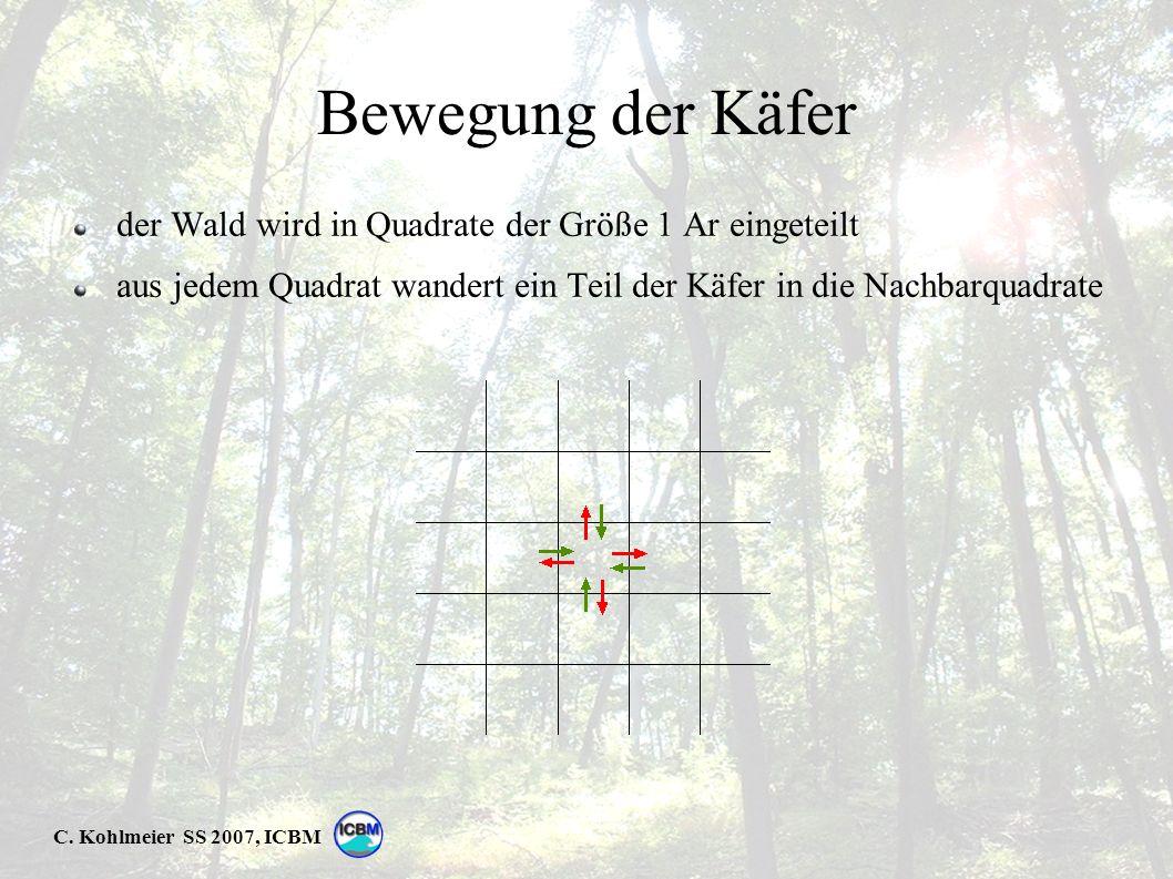 C. Kohlmeier SS 2007, ICBM Bewegung der Käfer der Wald wird in Quadrate der Größe 1 Ar eingeteilt aus jedem Quadrat wandert ein Teil der Käfer in die
