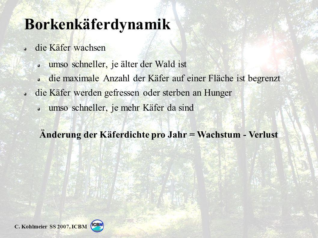 C. Kohlmeier SS 2007, ICBM Borkenkäferdynamik die Käfer wachsen umso schneller, je älter der Wald ist die maximale Anzahl der Käfer auf einer Fläche i