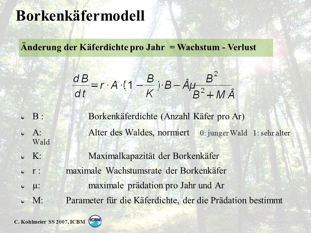 C. Kohlmeier SS 2007, ICBM Borkenkäfermodell B : Borkenkäferdichte (Anzahl Käfer pro Ar) A: Alter des Waldes, normiert 0: junger Wald 1: sehr alter Wa