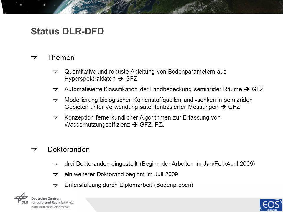Institut für Methodik der Fernerkundung bzw. Deutsches Fernerkundungsdatenzentrum Folie 3 Status DLR-DFD Themen Quantitative und robuste Ableitung von
