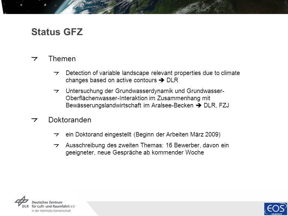 Institut für Methodik der Fernerkundung bzw. Deutsches Fernerkundungsdatenzentrum Folie 4 Status GFZ Themen Detection of variable landscape relevant p
