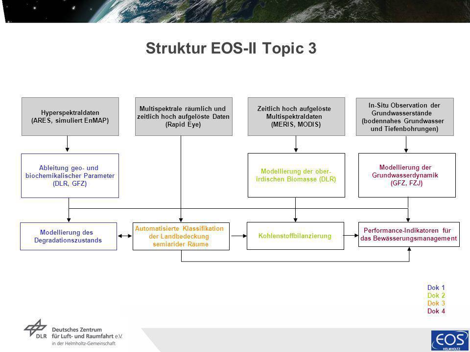 Institut für Methodik der Fernerkundung bzw. Deutsches Fernerkundungsdatenzentrum Folie 7 Dok 1 Dok 2 Dok 3 Dok 4 Struktur EOS-II Topic 3 Modellierung