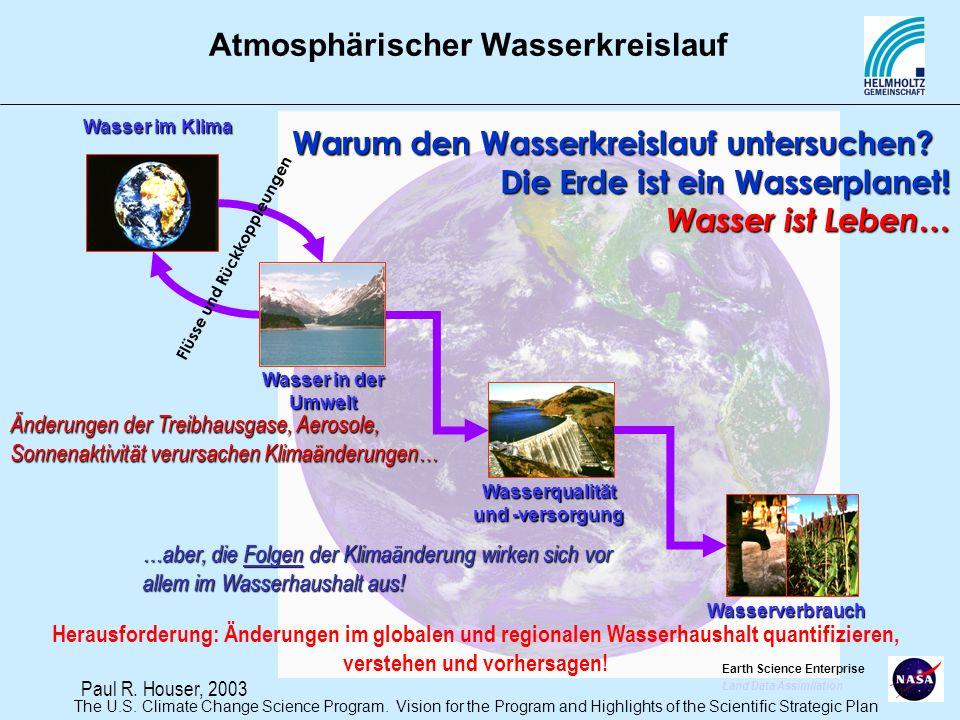 Atmosphärischer Wasserkreislauf Warum den Wasserkreislauf untersuchen? Die Erde ist ein Wasserplanet! Wasser ist Leben… Änderungen der Treibhausgase,