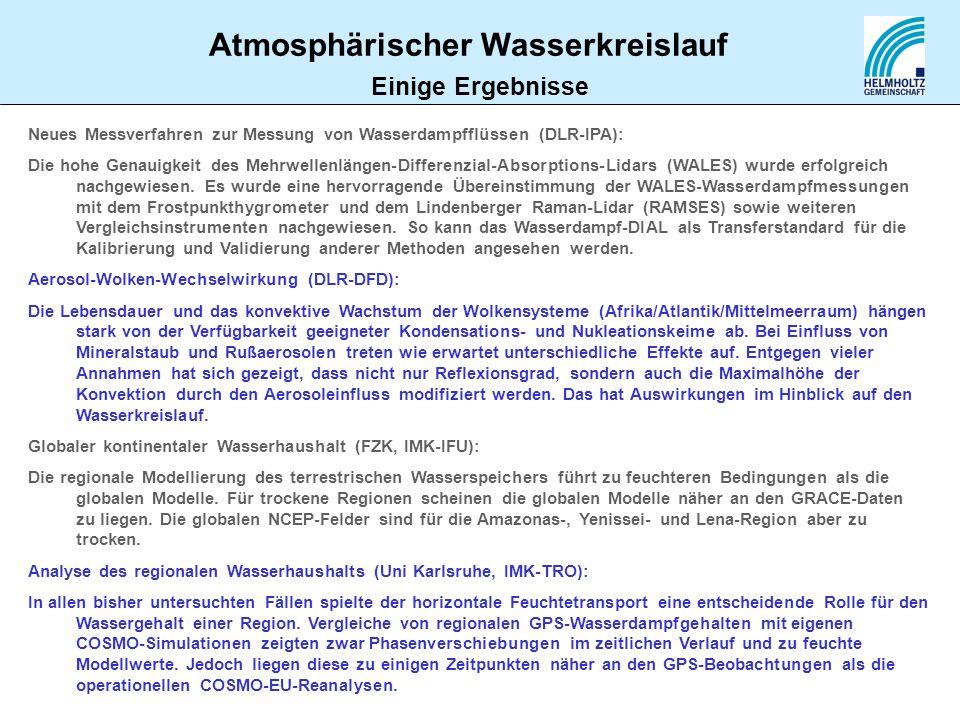 Atmosphärischer Wasserkreislauf Einige Ergebnisse Neues Messverfahren zur Messung von Wasserdampfflüssen (DLR-IPA): Die hohe Genauigkeit des Mehrwelle