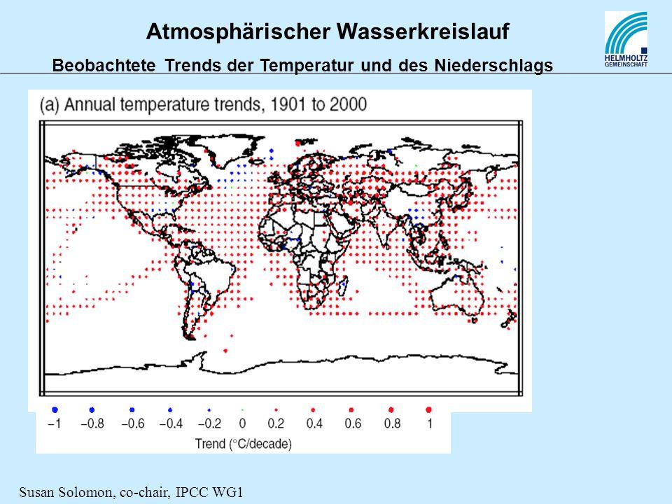 Atmosphärischer Wasserkreislauf Beobachtete Trends der Temperatur und des Niederschlags Susan Solomon, co-chair, IPCC WG1