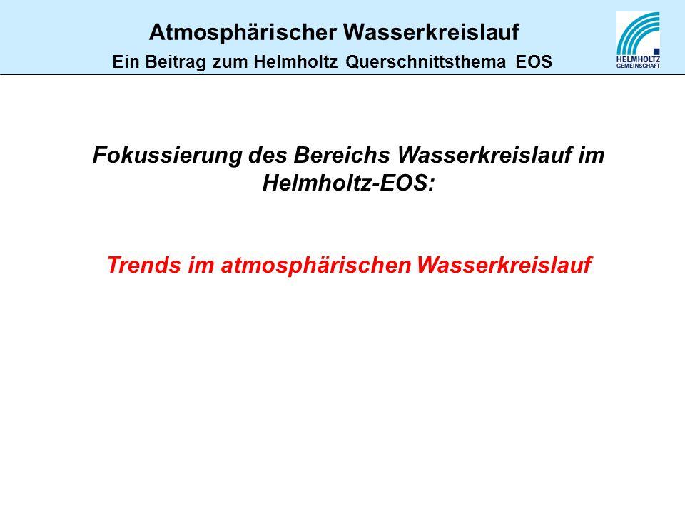 Atmosphärischer Wasserkreislauf Ein Beitrag zum Helmholtz Querschnittsthema EOS Fokussierung des Bereichs Wasserkreislauf im Helmholtz-EOS: Trends im