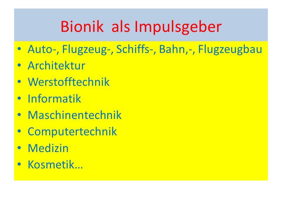 Bionik als Impulsgeber Auto-, Flugzeug-, Schiffs-, Bahn,-, Flugzeugbau Architektur Werstofftechnik Informatik Maschinentechnik Computertechnik Medizin