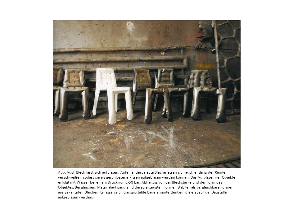 Abb. Auch Blech lässt sich aufblasen. Aufeinandergelegte Bleche lassen sich auch entlang der Ränder verschweißen, sodass sie als geschlossene Kissen a