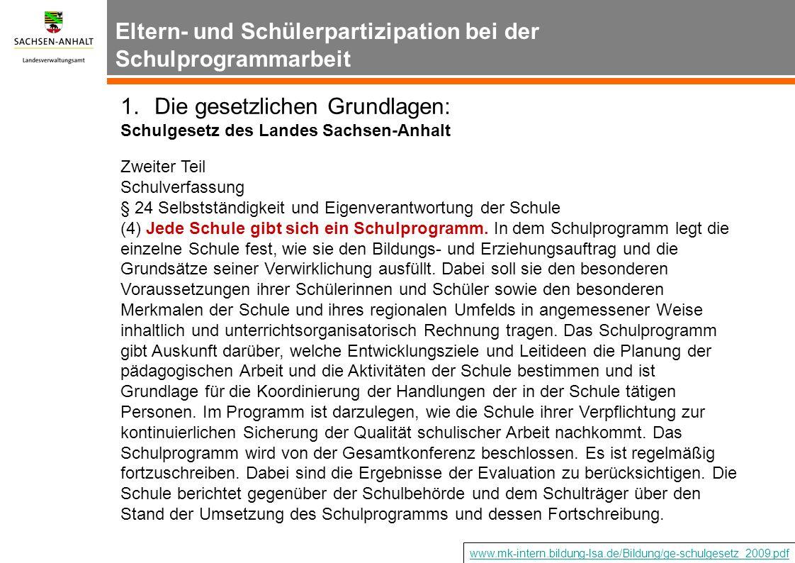 1.Die gesetzlichen Grundlagen: Schulgesetz des Landes Sachsen-Anhalt Zweiter Teil Schulverfassung § 24 Selbstständigkeit und Eigenverantwortung der Sc