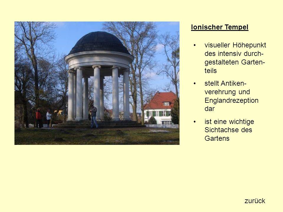 Ionischer Tempel visueller Höhepunkt des intensiv durch- gestalteten Garten- teils stellt Antiken- verehrung und Englandrezeption dar ist eine wichtig