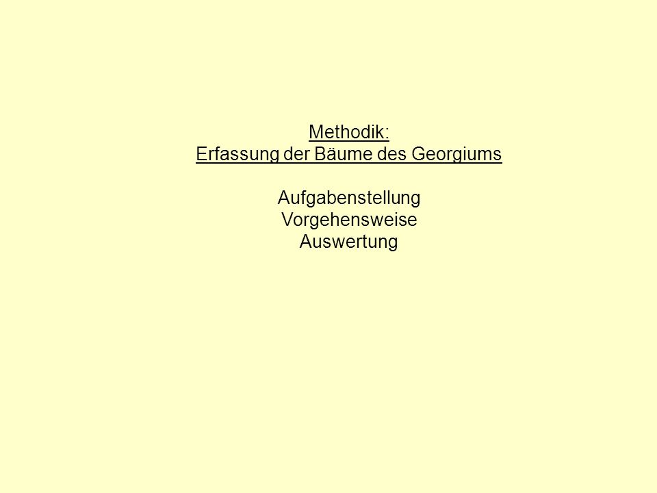 Methodik: Erfassung der Bäume des Georgiums Aufgabenstellung Vorgehensweise Auswertung