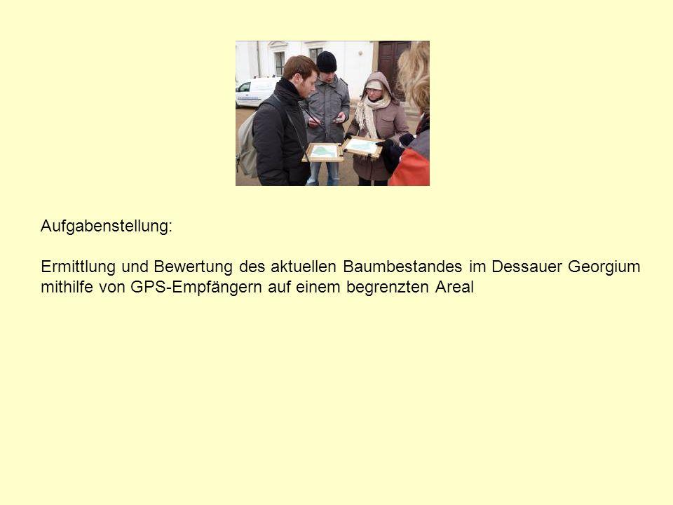 Aufgabenstellung: Ermittlung und Bewertung des aktuellen Baumbestandes im Dessauer Georgium mithilfe von GPS-Empfängern auf einem begrenzten Areal