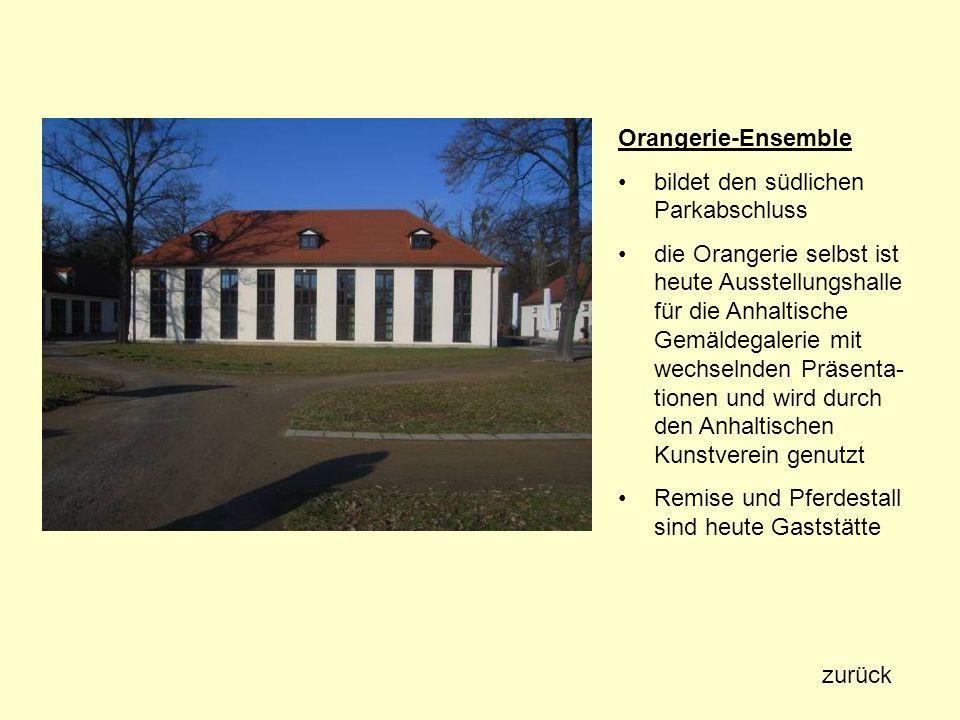 Orangerie-Ensemble bildet den südlichen Parkabschluss die Orangerie selbst ist heute Ausstellungshalle für die Anhaltische Gemäldegalerie mit wechseln
