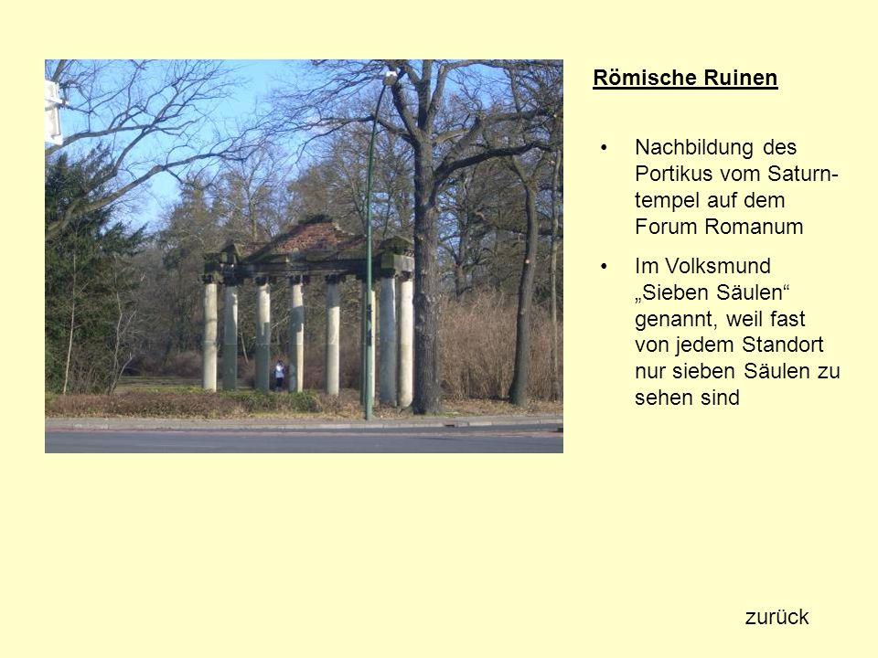 Römische Ruinen Nachbildung des Portikus vom Saturn- tempel auf dem Forum Romanum Im Volksmund Sieben Säulen genannt, weil fast von jedem Standort nur