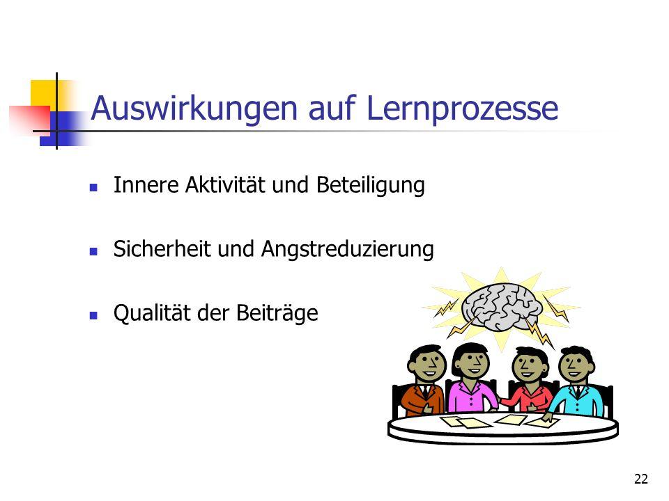Auswirkungen auf Lernprozesse Innere Aktivität und Beteiligung Sicherheit und Angstreduzierung Qualität der Beiträge 22