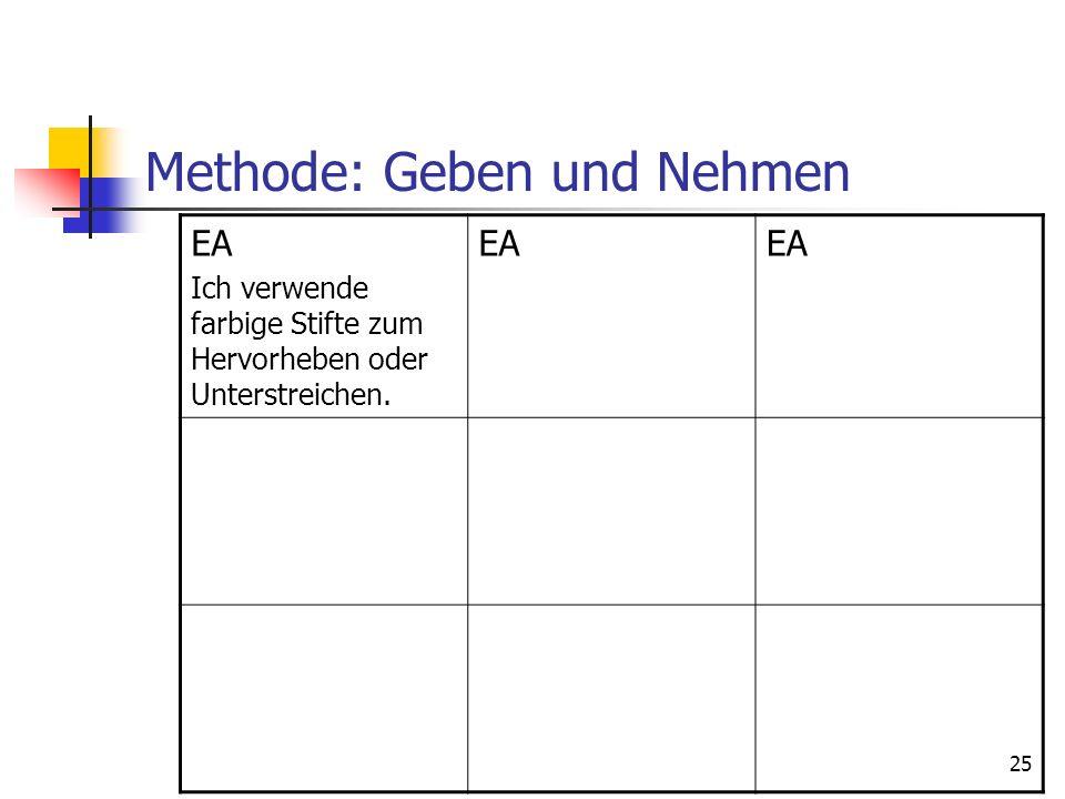 Methode: Geben und Nehmen EA Ich verwende farbige Stifte zum Hervorheben oder Unterstreichen. EA 25