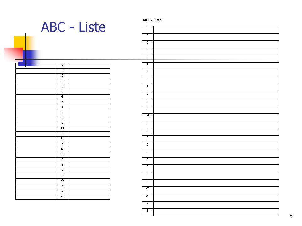 6 Reflexion ABC Liste Wie sind Sie vorgegangen, um diese Aufgabe zu lösen?