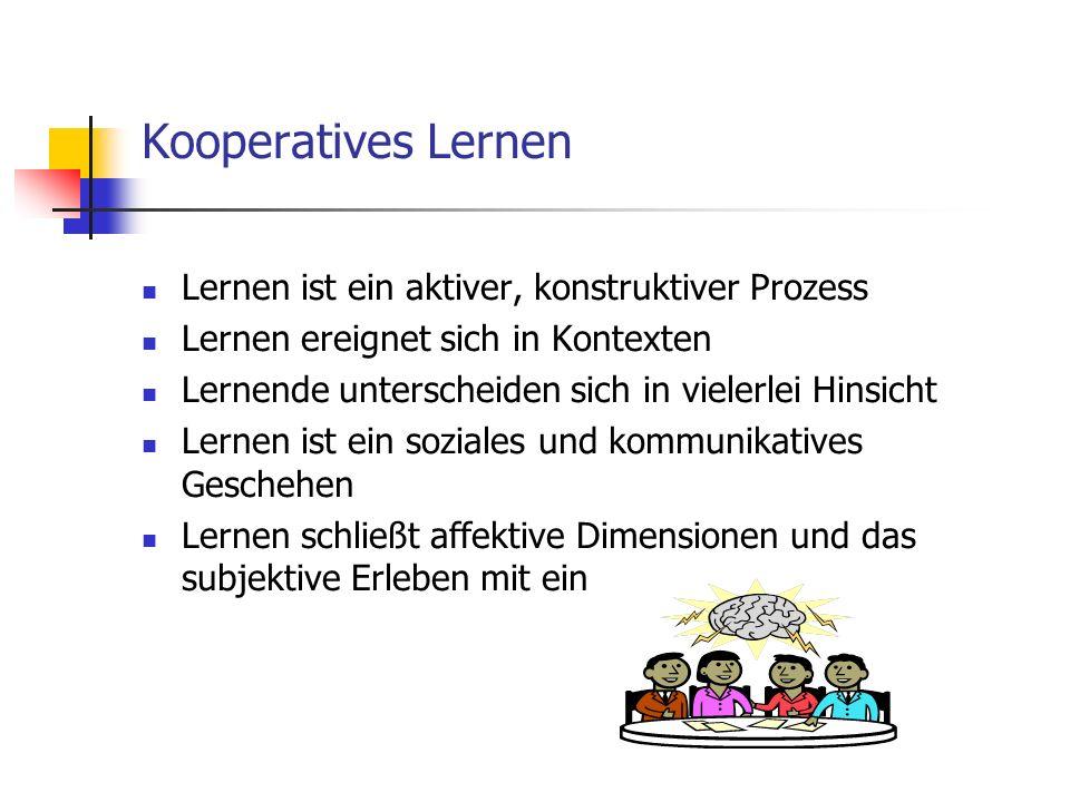 Lernen ist ein aktiver, konstruktiver Prozess Lernen ereignet sich in Kontexten Lernende unterscheiden sich in vielerlei Hinsicht Lernen ist ein sozia