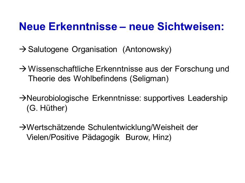 Neue Erkenntnisse – neue Sichtweisen: Salutogene Organisation (Antonowsky) Wissenschaftliche Erkenntnisse aus der Forschung und Theorie des Wohlbefindens (Seligman) Neurobiologische Erkenntnisse: supportives Leadership (G.