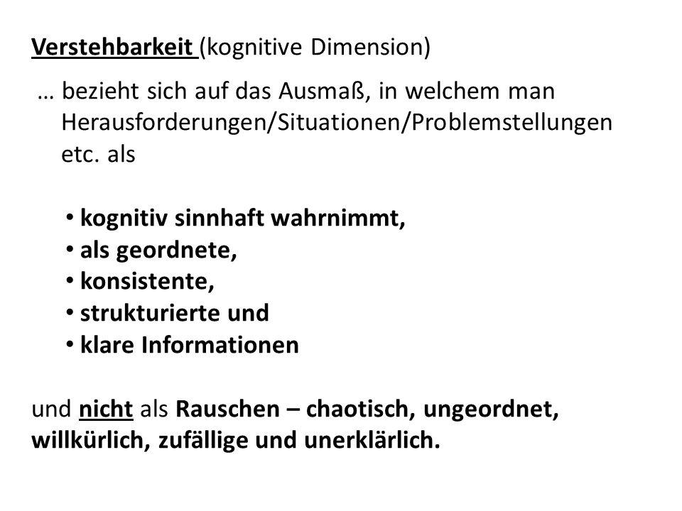 Verstehbarkeit (kognitive Dimension) … bezieht sich auf das Ausmaß, in welchem man Herausforderungen/Situationen/Problemstellungen etc.