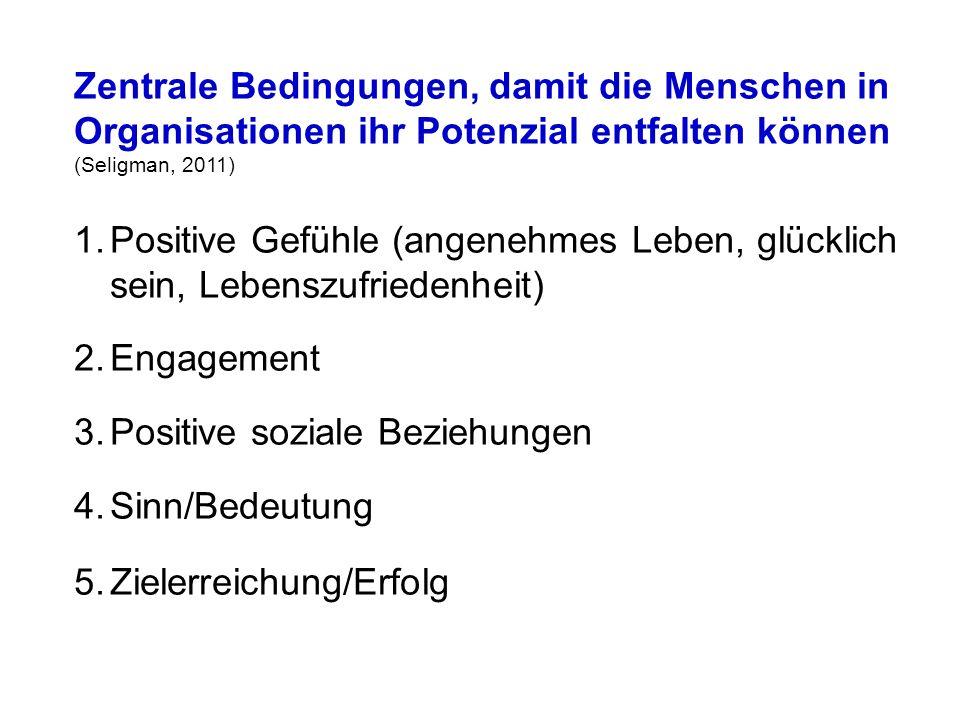 Zentrale Bedingungen, damit die Menschen in Organisationen ihr Potenzial entfalten können (Seligman, 2011) 1.Positive Gefühle (angenehmes Leben, glücklich sein, Lebenszufriedenheit) 2.Engagement 3.Positive soziale Beziehungen 4.Sinn/Bedeutung 5.Zielerreichung/Erfolg