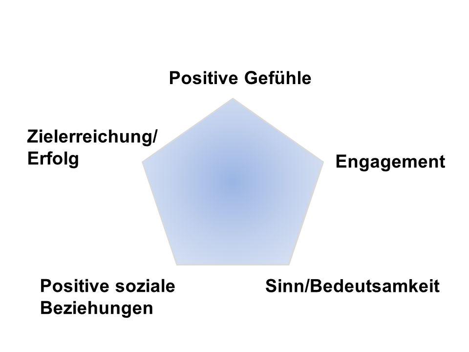 Positive Gefühle Engagement Sinn/Bedeutsamkeit Positive soziale Beziehungen Zielerreichung/ Erfolg