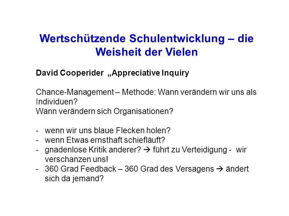 Wertschützende Schulentwicklung – die Weisheit der Vielen David Cooperider Appreciative Inquiry Chance-Management – Methode: Wann verändern wir uns als Individuen.