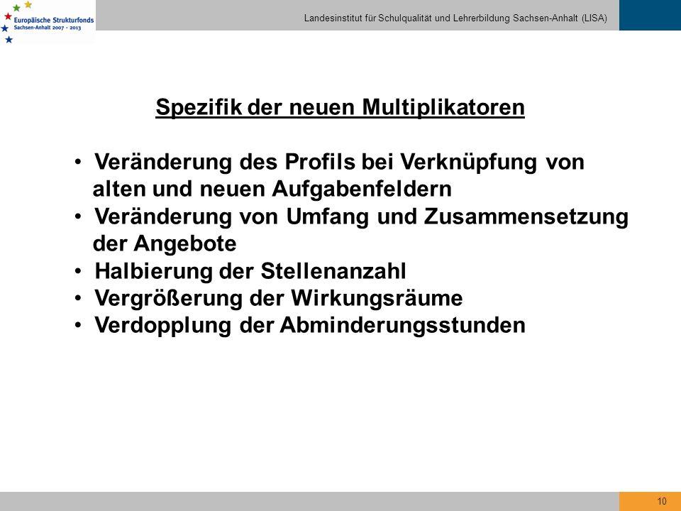 Landesinstitut für Schulqualität und Lehrerbildung Sachsen-Anhalt (LISA) 10 Spezifik der neuen Multiplikatoren Veränderung des Profils bei Verknüpfung