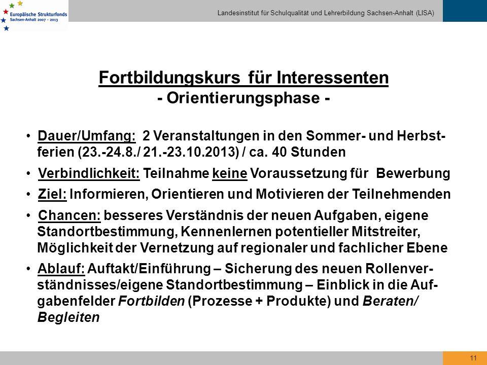 Landesinstitut für Schulqualität und Lehrerbildung Sachsen-Anhalt (LISA) 11 Fortbildungskurs für Interessenten - Orientierungsphase - Dauer/Umfang: 2