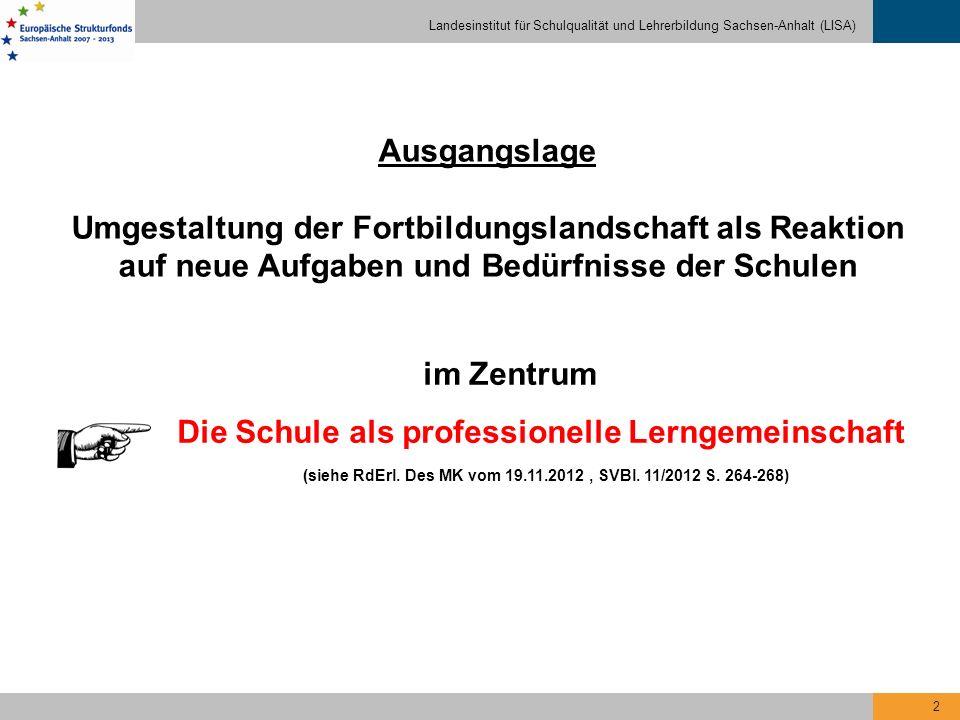 Landesinstitut für Schulqualität und Lehrerbildung Sachsen-Anhalt (LISA) 13 Fortbildungskurs für neue Multiplikatoren - Qualifizierungsphase - Pflichtveranstaltungen Wahlpflichtveranstaltungen