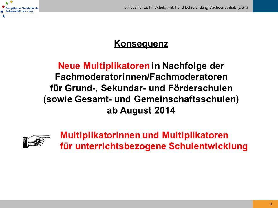 Landesinstitut für Schulqualität und Lehrerbildung Sachsen-Anhalt (LISA) 5 Spezifik der neuen Multiplikatoren Veränderung des Profils bei Verknüpfung von alten und neuen Aufgabenfeldern Fortbildungen sind sowohl systembezogen als auch individuell zu organisieren.