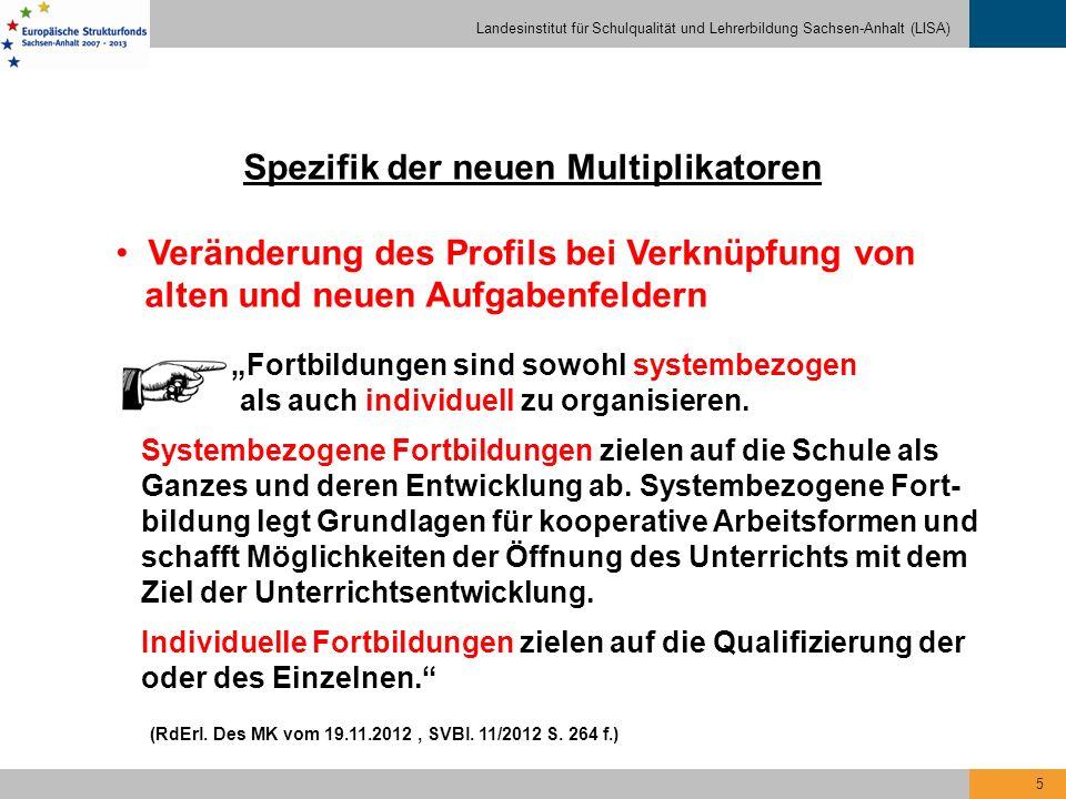 Landesinstitut für Schulqualität und Lehrerbildung Sachsen-Anhalt (LISA) 5 Spezifik der neuen Multiplikatoren Veränderung des Profils bei Verknüpfung