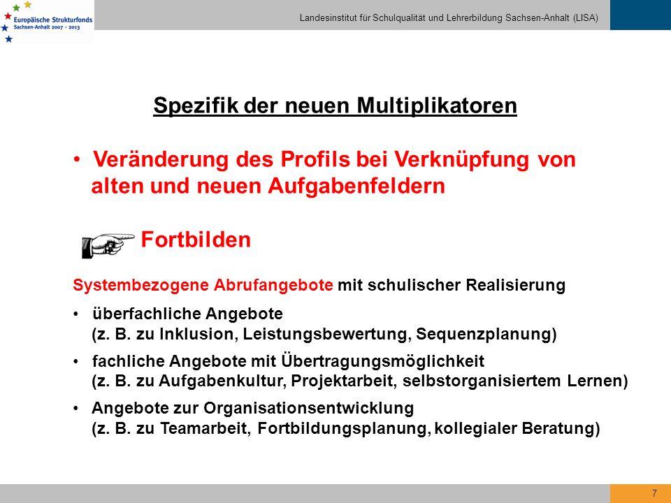 Landesinstitut für Schulqualität und Lehrerbildung Sachsen-Anhalt (LISA) 7 Spezifik der neuen Multiplikatoren Veränderung des Profils bei Verknüpfung