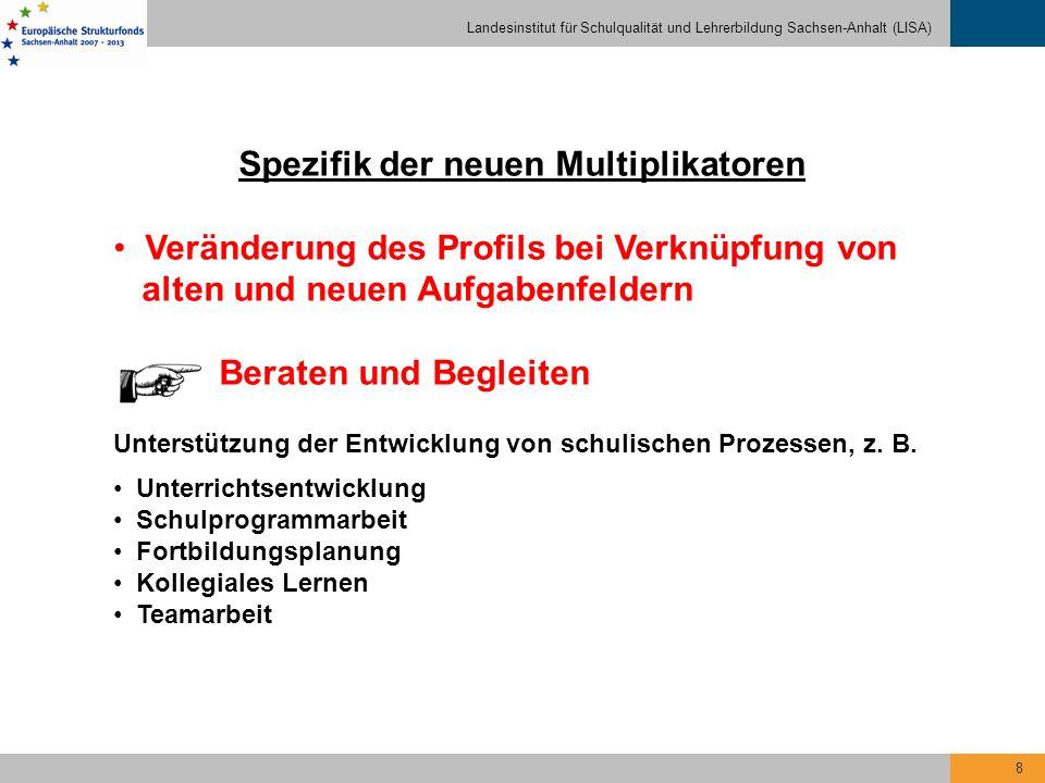 Landesinstitut für Schulqualität und Lehrerbildung Sachsen-Anhalt (LISA) 8 Spezifik der neuen Multiplikatoren Veränderung des Profils bei Verknüpfung