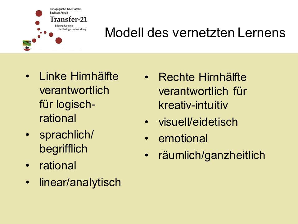 Modell des vernetzten Lernens Linke Hirnhälfte verantwortlich für logisch- rational sprachlich/ begrifflich rational linear/analytisch Rechte Hirnhälfte verantwortlich für kreativ-intuitiv visuell/eidetisch emotional räumlich/ganzheitlich