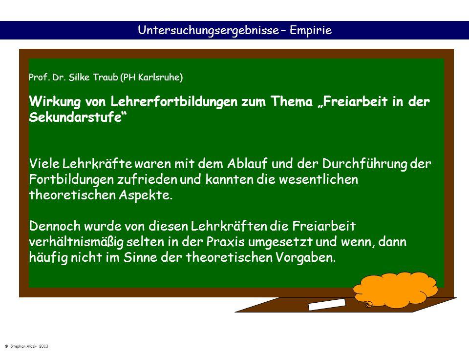 Prof. Dr. Silke Traub (PH Karlsruhe) Wirkung von Lehrerfortbildungen zum Thema Freiarbeit in der Sekundarstufe Viele Lehrkräfte waren mit dem Ablauf u