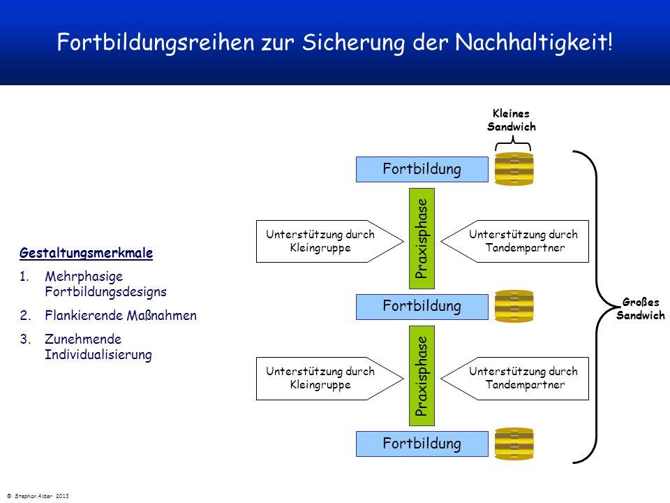 Gestaltungsmerkmale 1.Mehrphasige Fortbildungsdesigns 2.Flankierende Maßnahmen 3.Zunehmende Individualisierung Fortbildungsreihen zur Sicherung der Na