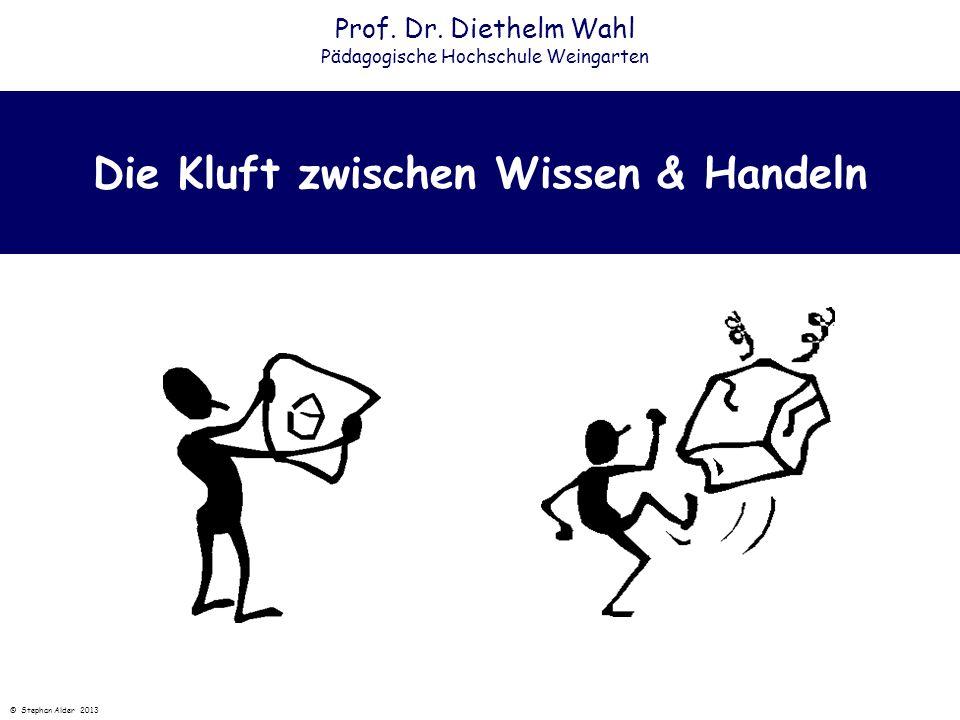 Die Kluft zwischen Wissen & Handeln Prof. Dr. Diethelm Wahl Pädagogische Hochschule Weingarten © Stephan Alder 2013