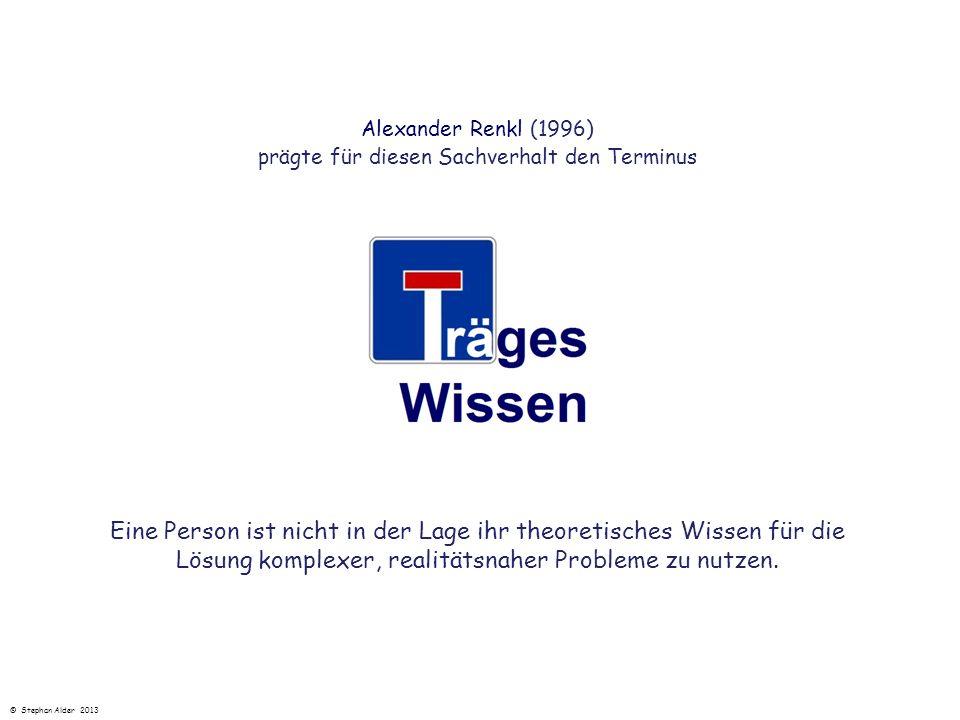 Alexander Renkl (1996) prägte für diesen Sachverhalt den Terminus Eine Person ist nicht in der Lage ihr theoretisches Wissen für die Lösung komplexer,