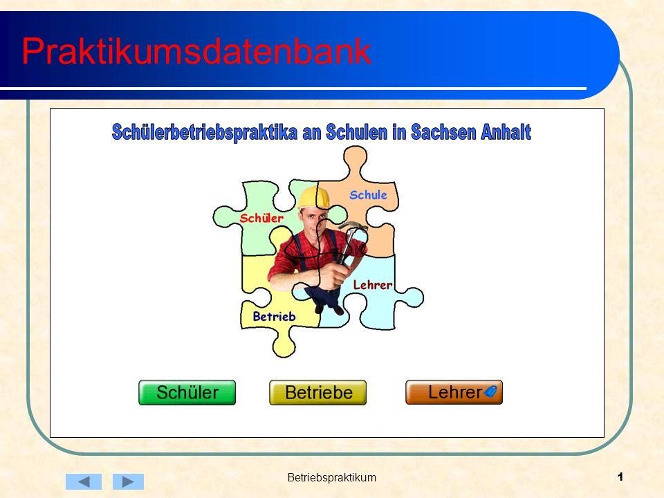 Betriebspraktikum1 Praktikumsdatenbank