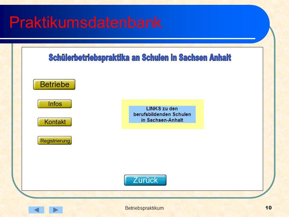 Betriebspraktikum10 Praktikumsdatenbank